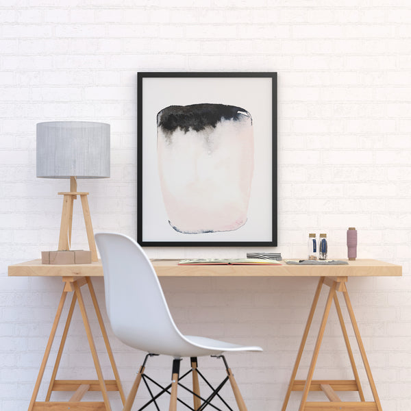 Modern abstract watercolor painting in pink and black by Jules Tillman
