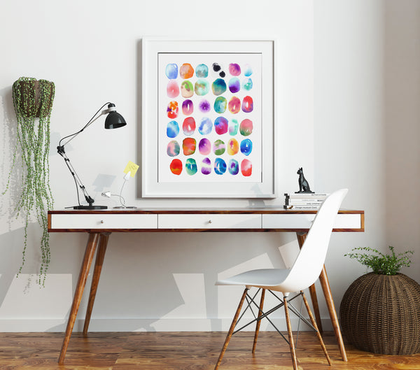 "Colorful Watercolor Print ""Color Play"" by Jules Tillman. Colorful, Modern Abstract Art Painting."