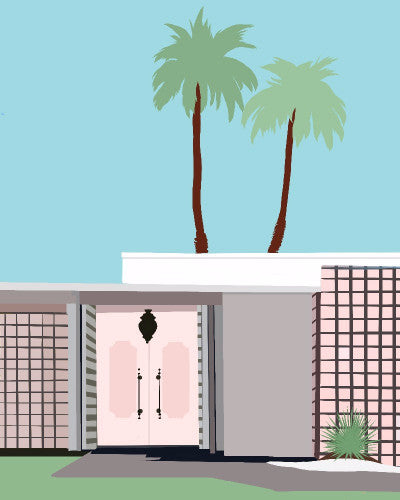 illustration is of a mid-century modern home in Palm Springs, CA by Jules Tillman