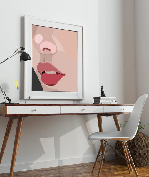 "Such a cool piece of art! Abstract, Modern Portrait ""Up Close"" by Jules Tillman - lips and face in millennial pink and red"
