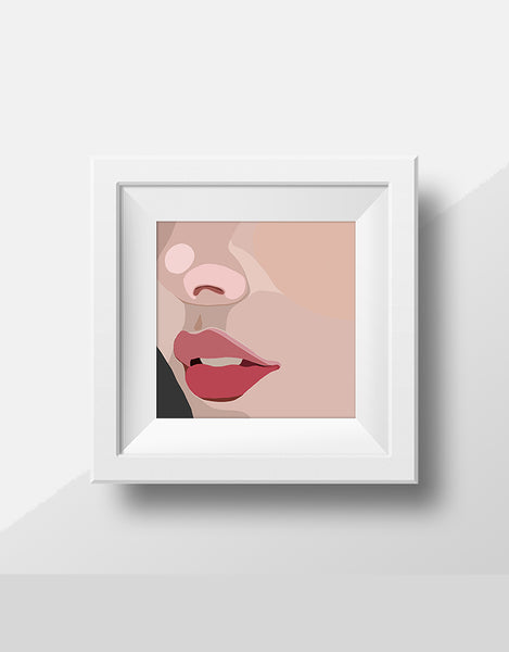 "Cute art! Abstract, Modern Portrait ""Up Close"" by Jules Tillman - Fine Art Lustre Print minimal woman abstract portrait millennial pink"