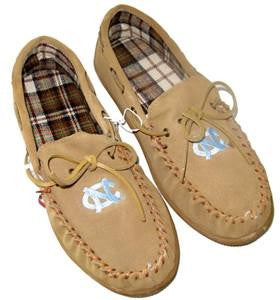 North Carolina Tar Heels Mens Moccasin Slippers – Cow Suede