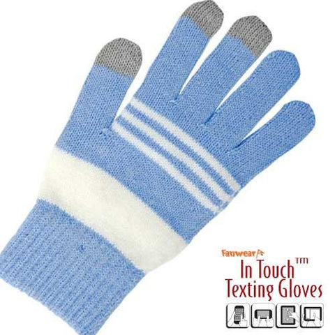 In Touch Texting Gloves- Blue & White