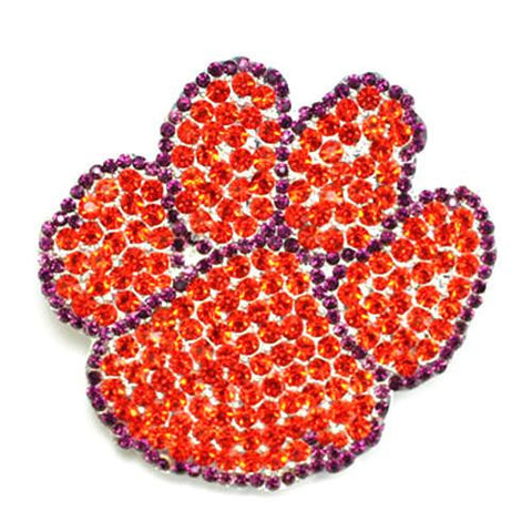 Clemson Tigers Brooch Pin with Crystals