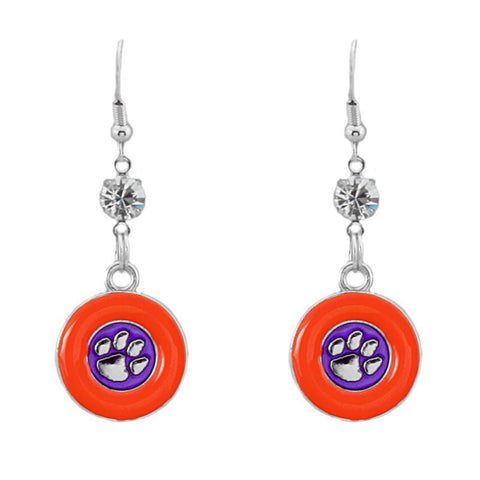 Clemson Tigers Dangle Earrings- Rhinestone Disk