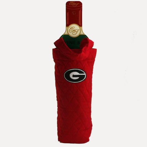 Georgia Bulldogs Wine Tote- Red Quilted