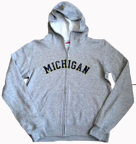 DRG University of Michigan Wolverines Ladies Zip Front Hooded Sweatshirt – Grey