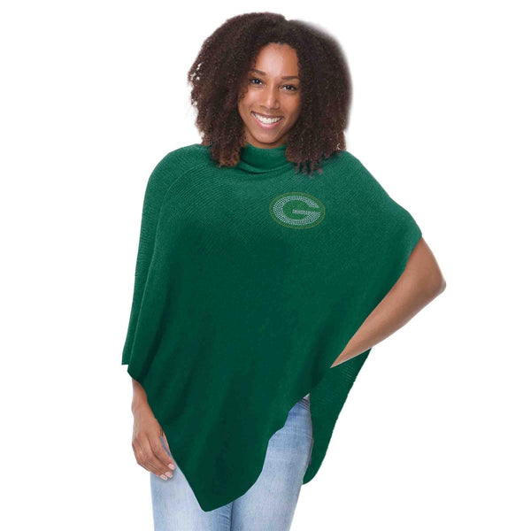 Green Bay Packers Crystal Knit Poncho