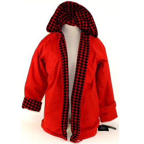 Colors on Campus Reversible Houndstooth Jacket- Red/Black PLUS SIZES