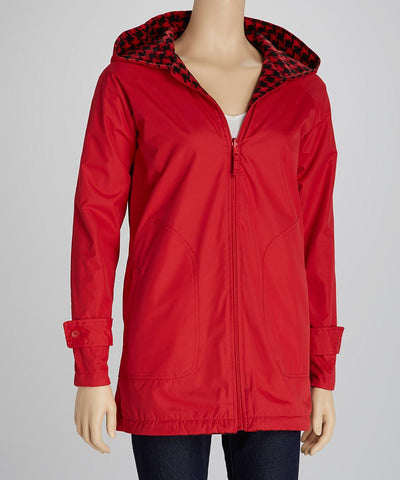 Colors on Campus Reversible Houndstooth Jacket- Red/Black