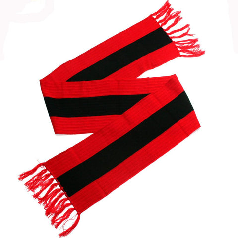 Ribbed Vertical Stripe Scarf- Red & Black