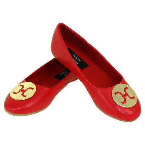 Ballet Flat with Gold Medallion- Red