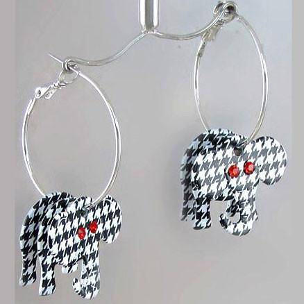 Houndstooth 3D Elephant Hoop Earrings