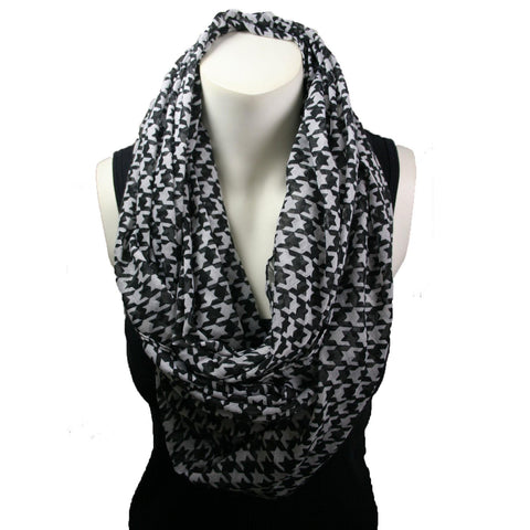 Black & White Hounds-Tooth Print Infinity Scarf