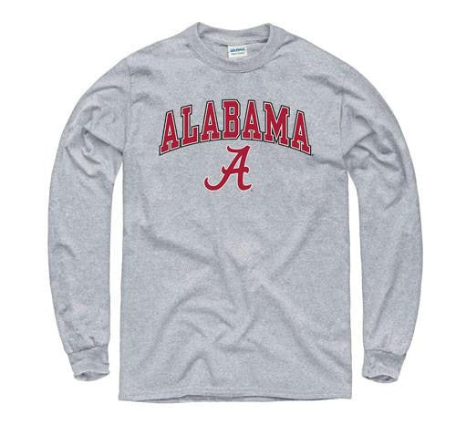 Alabama Crimson Tide Tshirt- Long Sleeve Grey Midsize