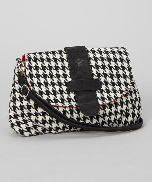 Wool Houndstooth Clutch Purse