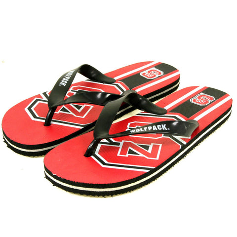 NC North Carolina State Wolfpack Flip Flops- Big Logo