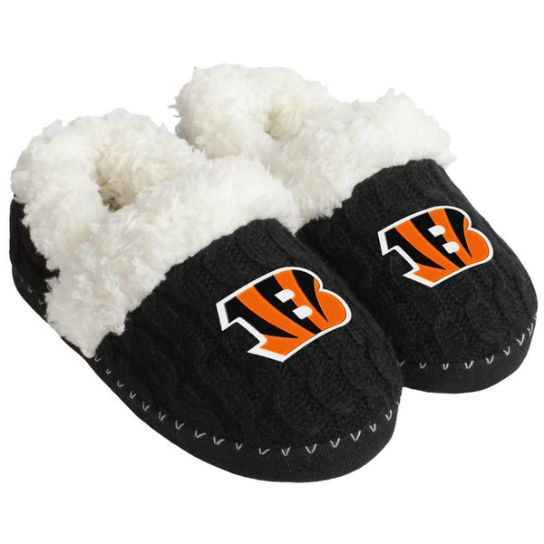 CINCINNATI BENGALS NFL Womens Fur Team Color Moccasin Slippers