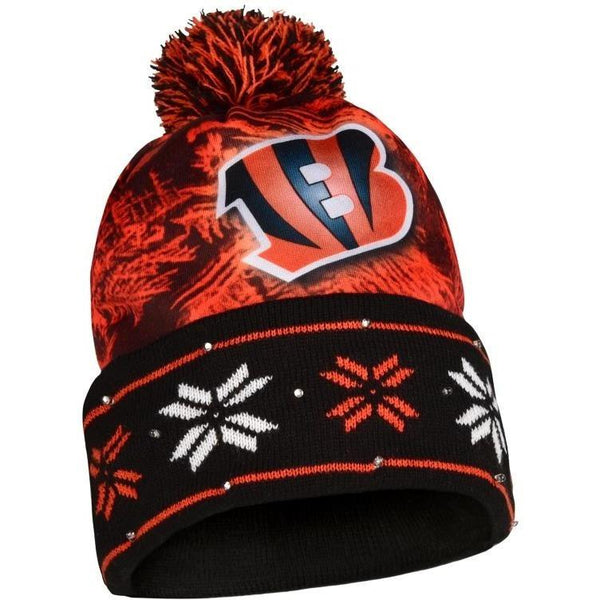 CINCINNATI BENGALS NFL BIG LOGO LIGHT UP PRINTED BEANIE