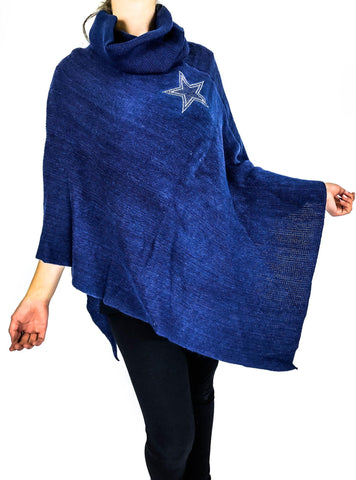 Dallas Cowboys Crystal Knit Poncho- Navy