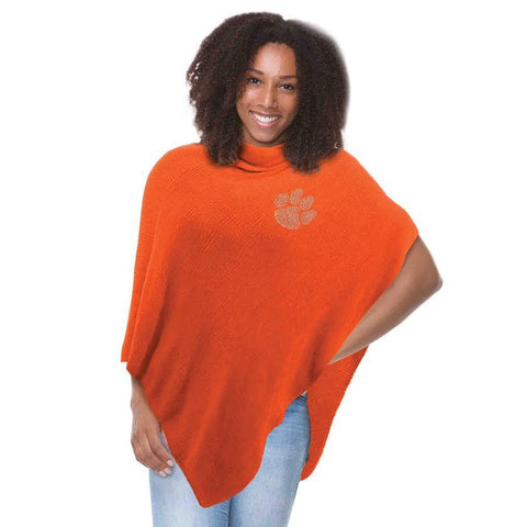 Clemson Tigers Crystal Knit Poncho- Orange