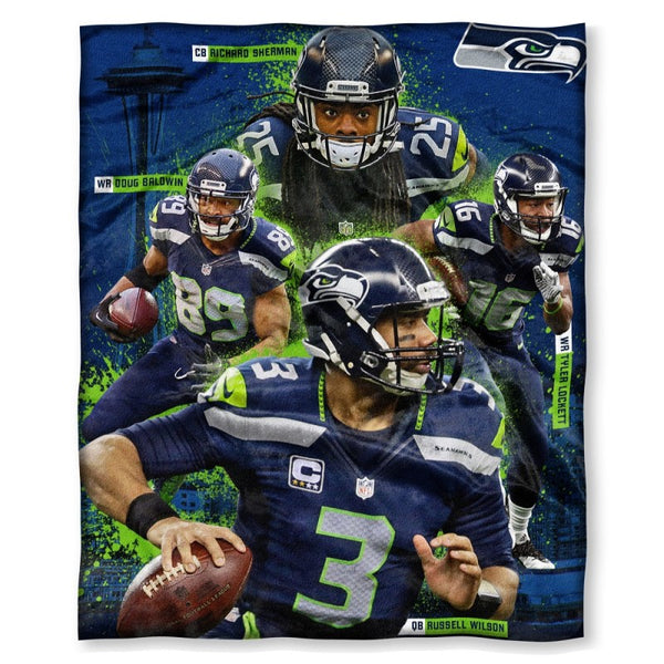 Richard Sherman, Doug Baldwin, Tyler Lockett, and Russell Wilson - Seattle Seahawks NFLPA Players HD Silk Touch Throw