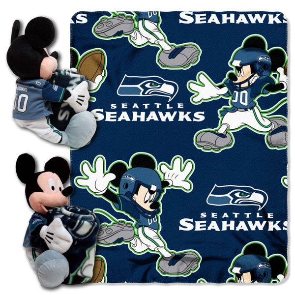 Seattle Seahawks NFL Mickey Hugger and Fleece Throw Set