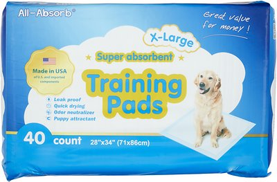 All-Absorb Extra Large Super Absorbent Training Pads, 28 x 34 in, 40 count