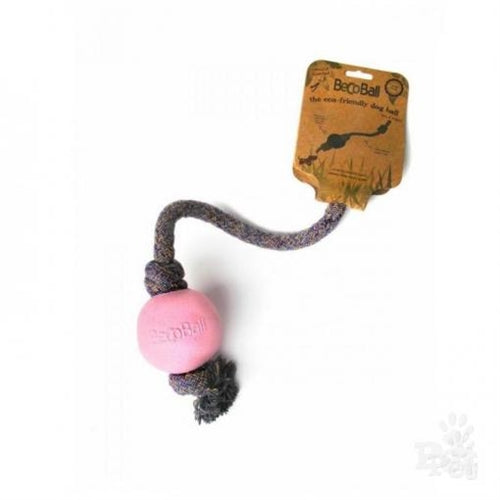 Beco Dog Ball With Rope - Pink
