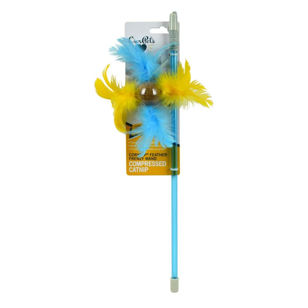 OurPets Corknip Feather Frenzy Wand
