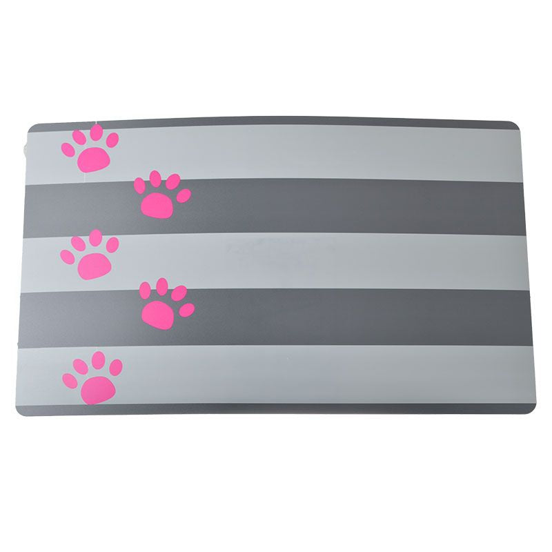 Copy of Petmate Plastic Food Mat - Gray Stripe & Pink Paw