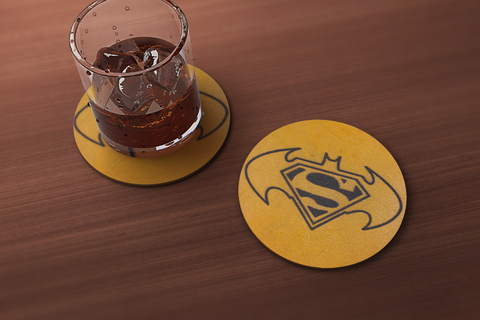 Bat and Superest of Men Drink Coaster
