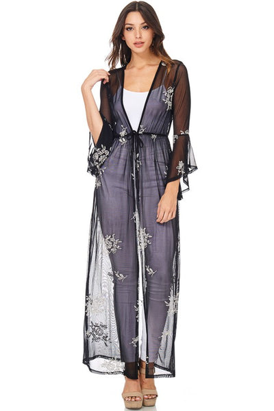 Floral Embroidered Sheer Black Kimono