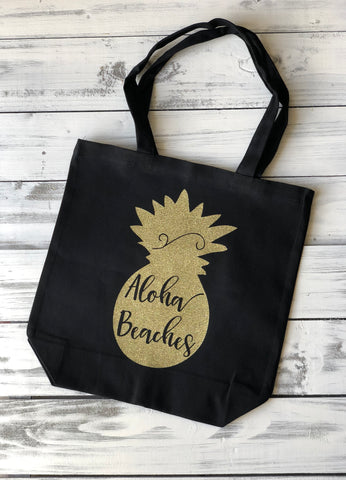 aloha beaches pineapple tote bag