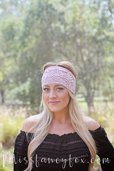 Dusty Pink Lace Headband With Charm