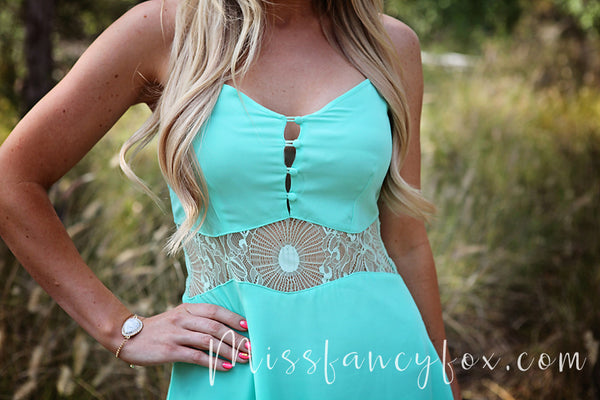 mint lace peek a boo dress teal
