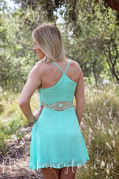 Mint Peek A Boo Lace Waist Dress