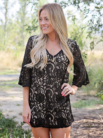 Bell Sleeve Lace Little Black Dress