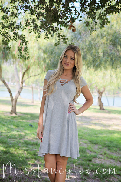 Solid Jersey Dress- Gray