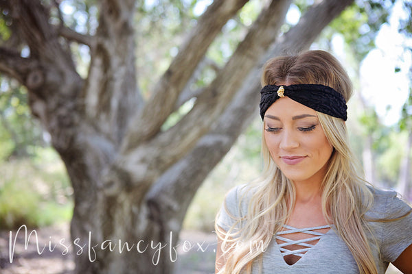 Black Lace Headband With Charm