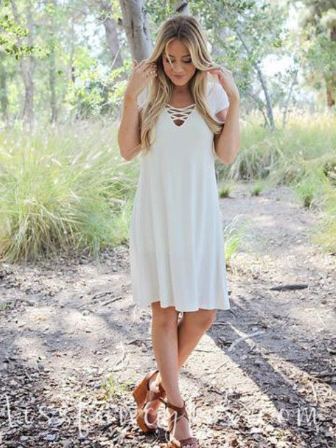 Solid Jersey Dress- White