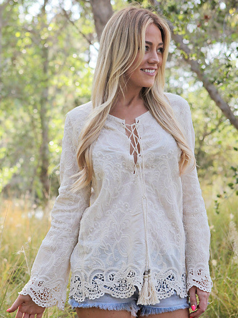 pretty embroidered blouse top tie tassel