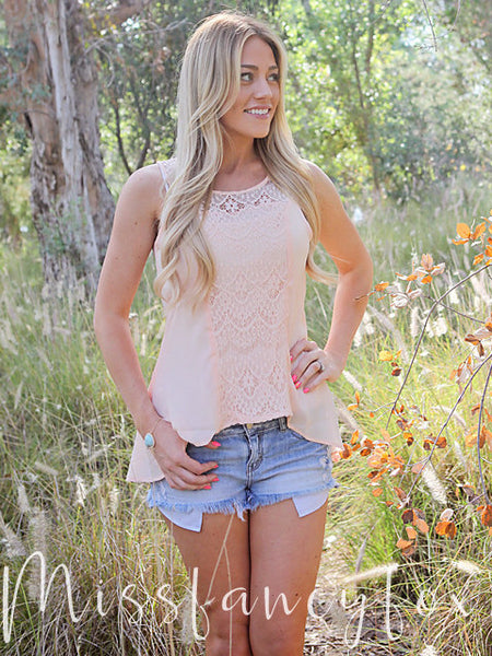 Peach Embroidered Lace Sleeveless Top
