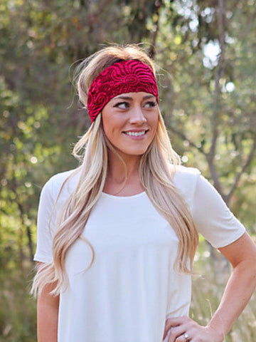 Red Lace Headband with Charm