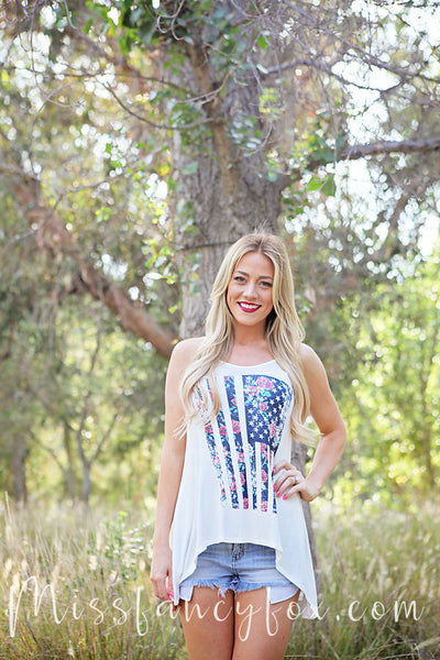 american flag floral rose tank top blouse