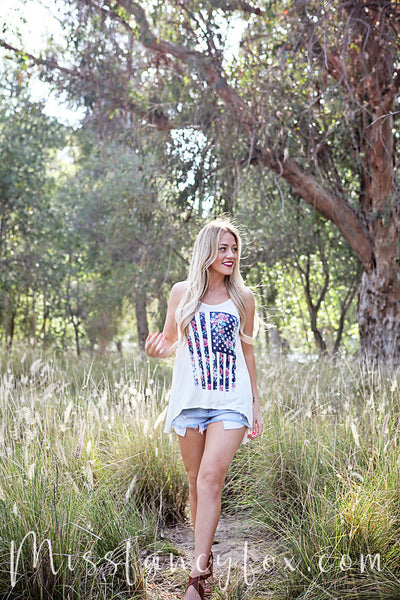 Coming Up Roses American Flag Tank