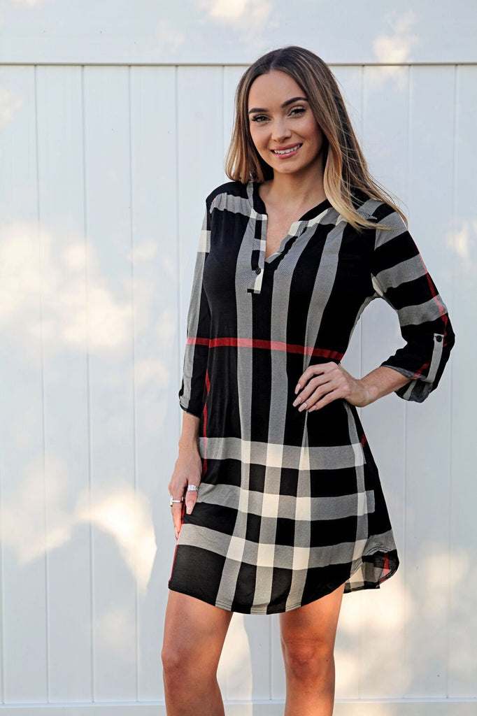 Black & White Plaid Dress