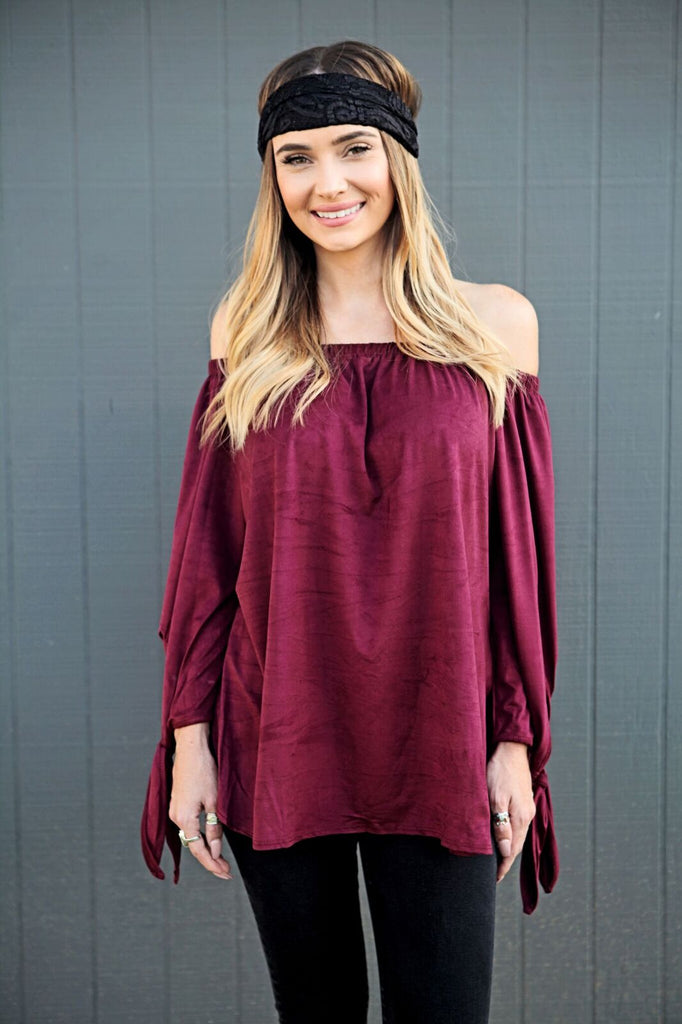 Suede Off Shoulder Tunic Top