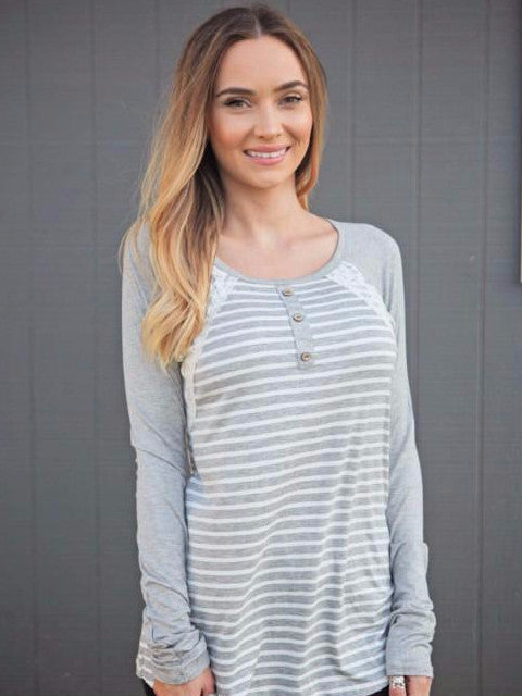 Gray & White Stripe Lace Detail Top