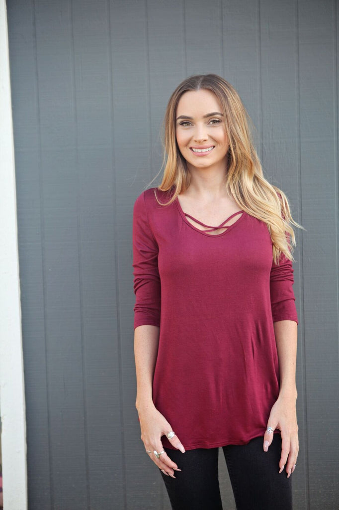 Criss Cross Quarter Sleeve Top
